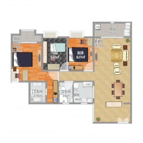 三亚同心家园3室1厅2卫1厨131.00㎡户型图