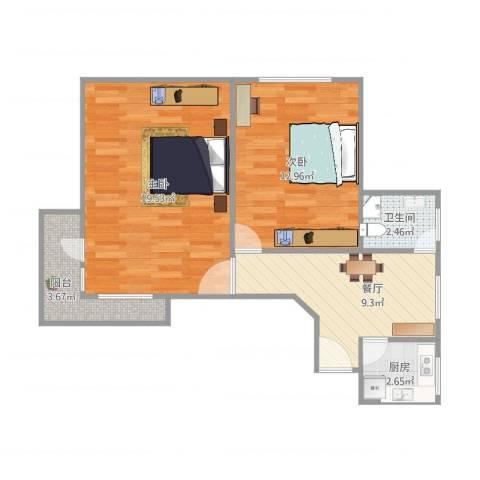 康乐小区(徐汇)2室1厅1卫1厨69.00㎡户型图