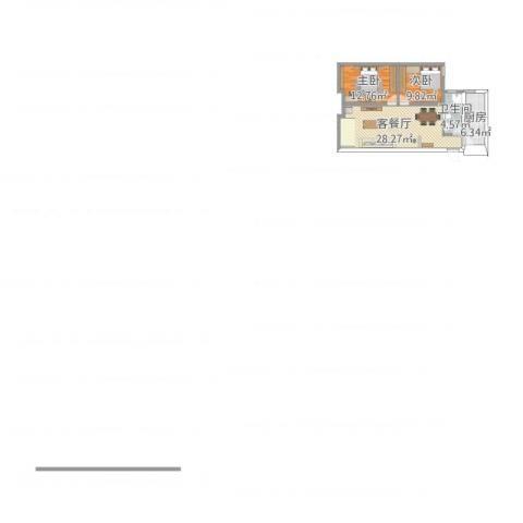 融创洞庭路壹号2室1厅1卫1厨89.00㎡户型图