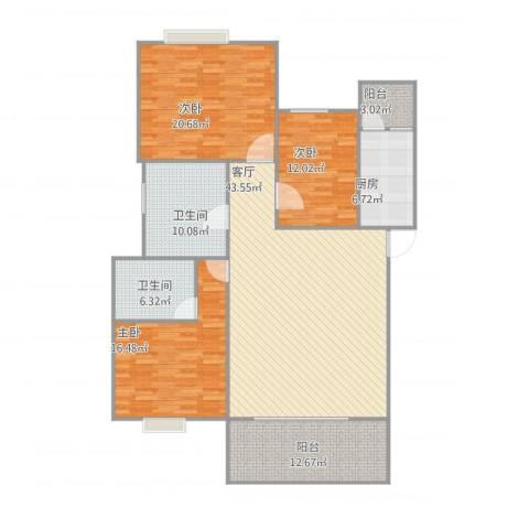 金碧花园3室1厅2卫1厨175.00㎡户型图