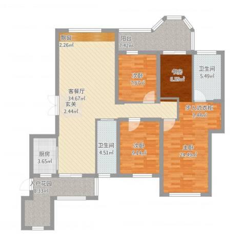 唐程御品3室1厅2卫1厨151.00㎡户型图