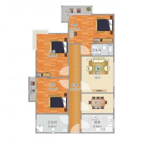 中远行家24063室2厅2卫1厨142.00㎡户型图
