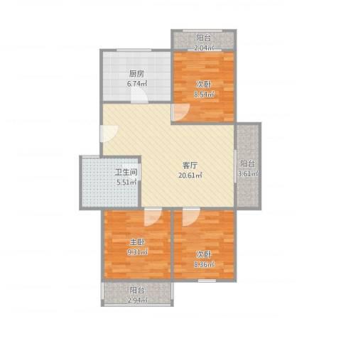 御河苑3室1厅1卫1厨92.00㎡户型图