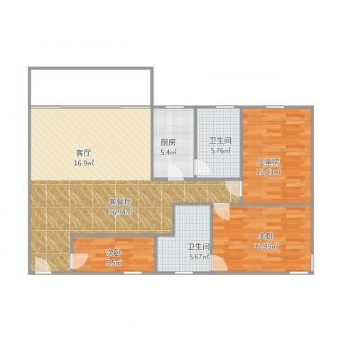 东银阁3室1厅2卫1厨113.00㎡户型图