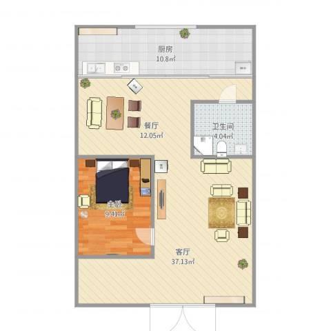 珠江骏景1室1厅1卫1厨82.00㎡户型图
