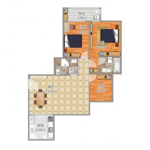 米兰花园3室1厅3卫1厨107.00㎡户型图