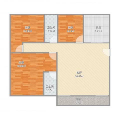 乐然居3室1厅2卫1厨131.00㎡户型图
