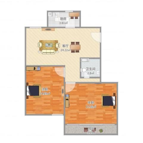 鹏海小区2室1厅1卫1厨90.00㎡户型图