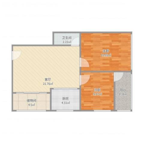 农信社宿舍2室1厅1卫1厨81.00㎡户型图