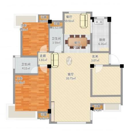 香山听泉2室1厅2卫1厨113.53㎡户型图