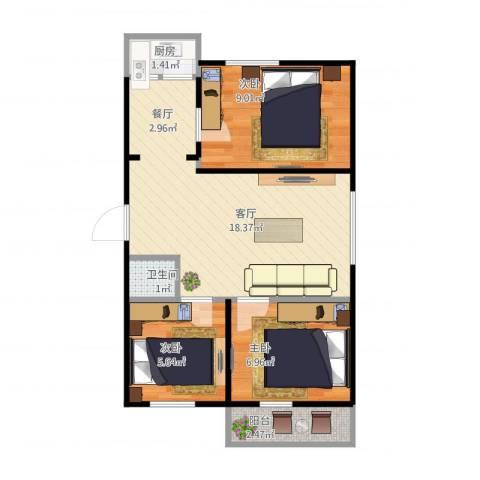 锦江华庭3室1厅1卫1厨62.00㎡户型图