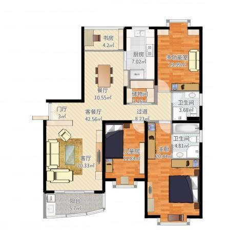 华丽家族花园3室1厅2卫1厨154.00㎡户型图