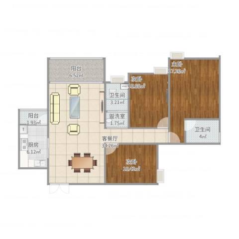 鸥鹏・天境3室2厅2卫1厨130.00㎡户型图
