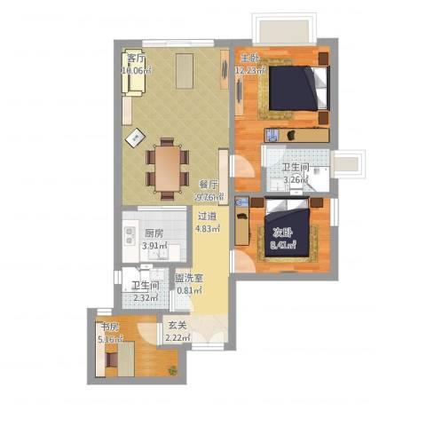 骏景花园南苑3室1厅2卫1厨91.00㎡户型图