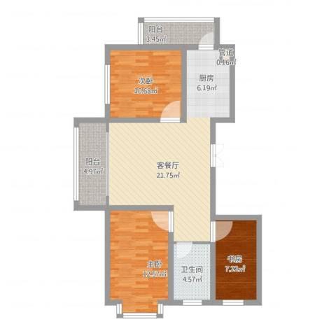 新龙城3室1厅1卫1厨104.00㎡户型图
