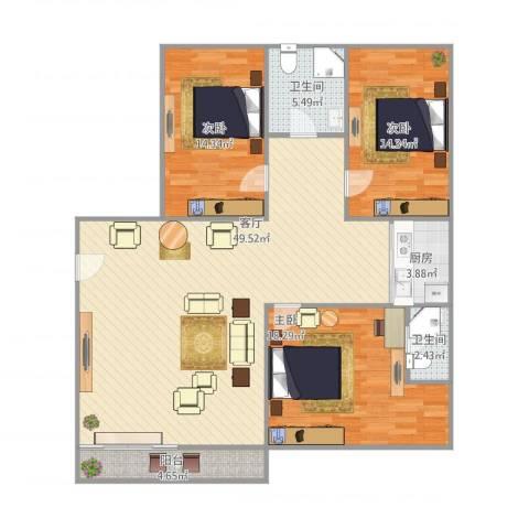 谊东阁3室1厅2卫1厨151.00㎡户型图