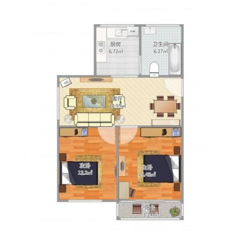 齐河花苑2室1厅1卫1厨85.00㎡户型图