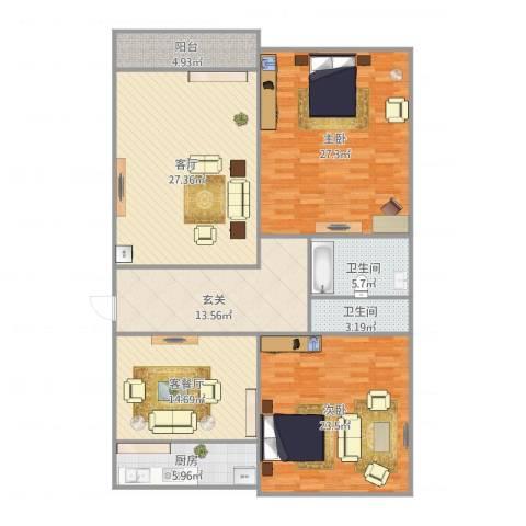 清联花园2室2厅2卫1厨168.00㎡户型图