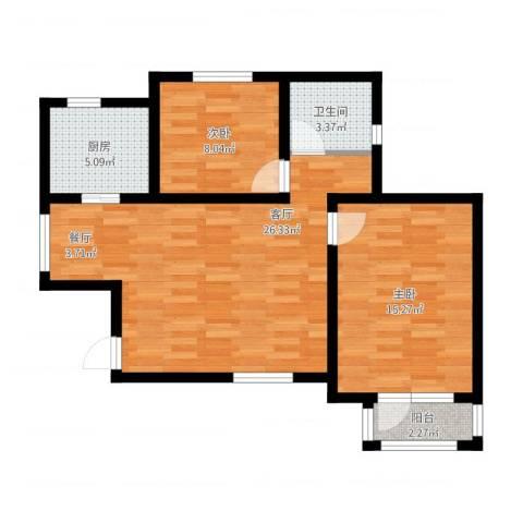 新梅江雅境新枫尚2室1厅1卫1厨87.00㎡户型图