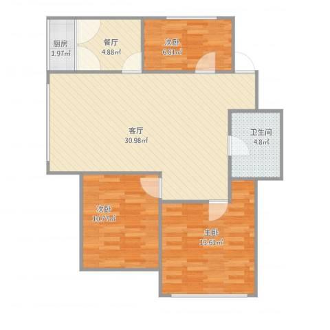市场公寓3室2厅1卫1厨99.00㎡户型图