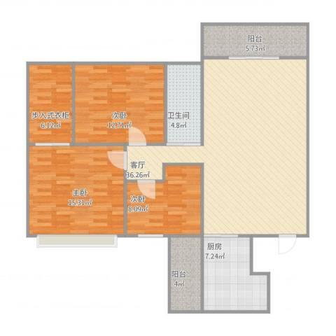 大湖花园3室1厅1卫1厨135.00㎡户型图