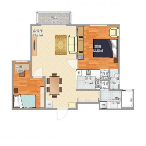 海尚乐苑2室1厅4卫1厨75.00㎡户型图