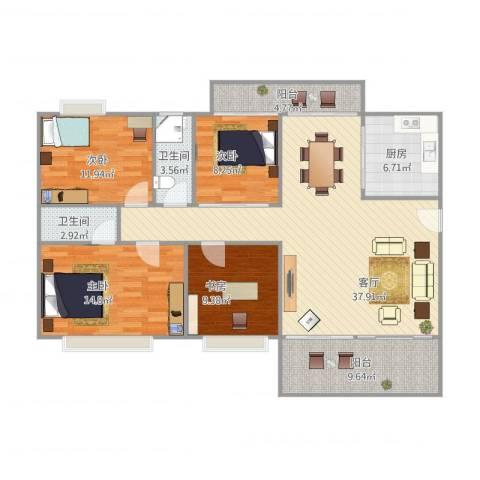 金域湾4室1厅2卫1厨147.00㎡户型图