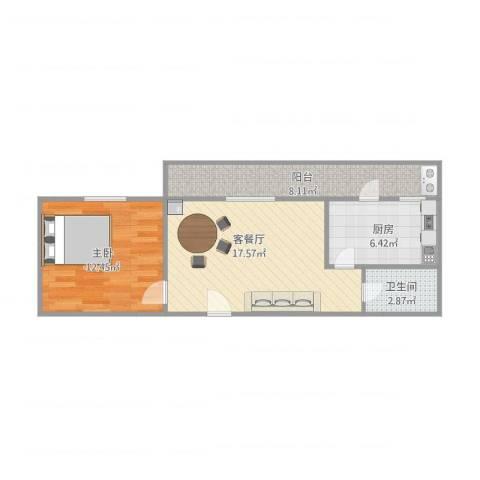 同盛里1室1厅1卫1厨64.00㎡户型图