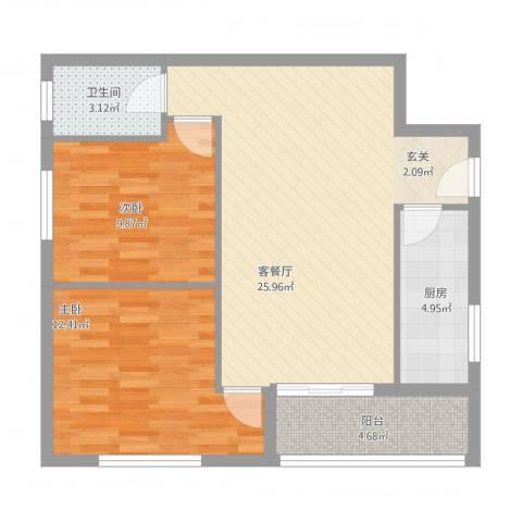 腾庆卡达凯斯山水城2室1厅1卫1厨86.00㎡户型图