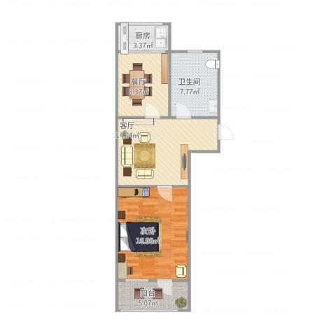 明湖小区1室2厅1卫1厨76.00㎡户型图