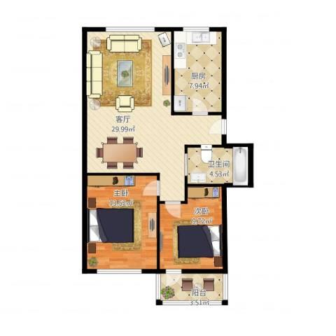 太平洋小区2室1厅1卫1厨95.00㎡户型图