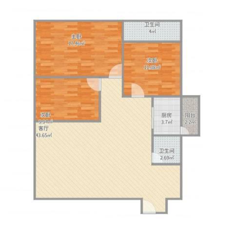 伟业楼3室1厅2卫1厨127.00㎡户型图