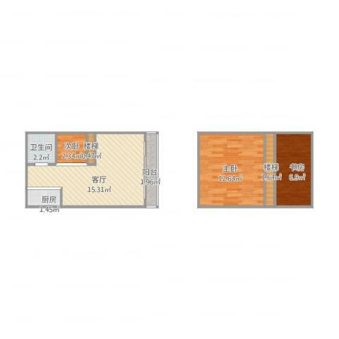 底特律财富天地3室1厅1卫1厨62.00㎡户型图
