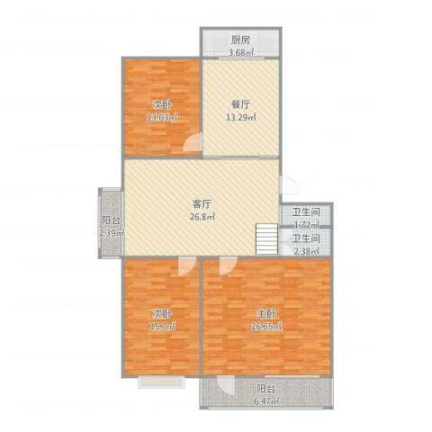鸿福苑3室2厅2卫1厨150.00㎡户型图