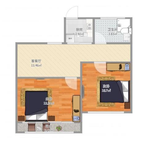 甘泉三村2室1厅1卫1厨62.00㎡户型图