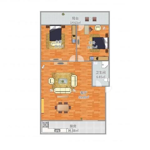 中环花园2室1厅1卫1厨180.00㎡户型图