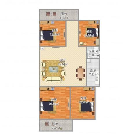 明湖小区4室1厅1卫1厨176.00㎡户型图