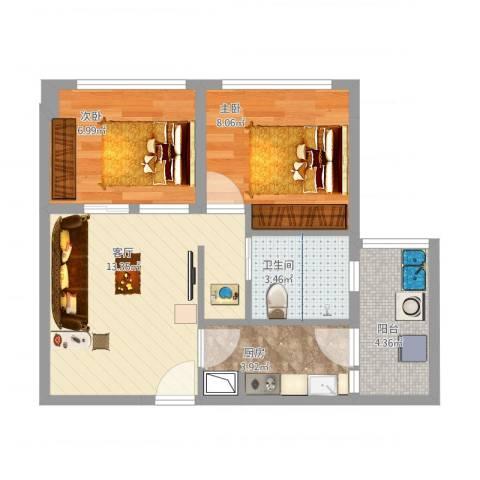 两江慧谷2-1-38平米2室1厅1卫1厨58.00㎡户型图