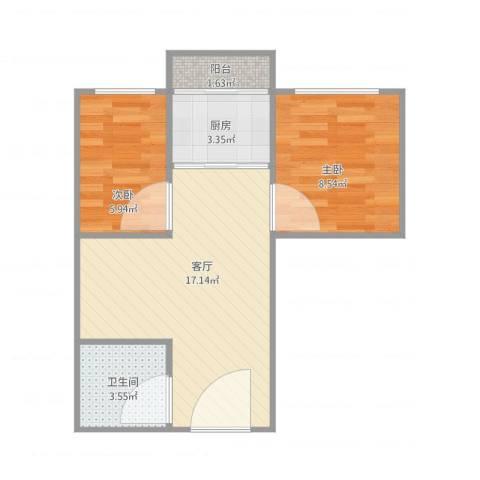江滨大厦2室1厅1卫1厨44.00㎡户型图
