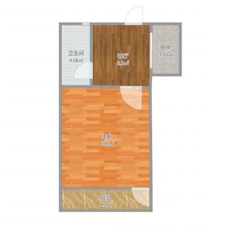 羽山路1000弄小区1室1厅1卫1厨54.00㎡户型图