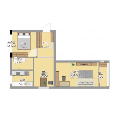 永乐西区1室2厅1卫1厨63.00㎡户型图