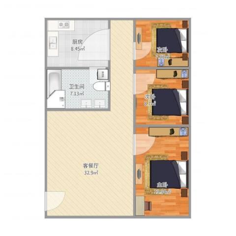 新联楼3室1厅1卫1厨105.00㎡户型图