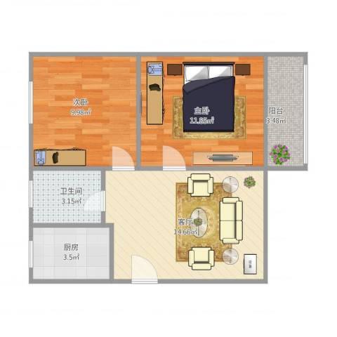 东南二村2室1厅1卫1厨63.00㎡户型图