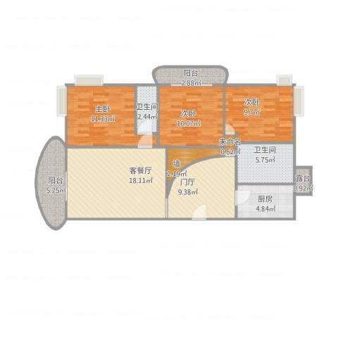 嘉禾新城3室1厅2卫1厨114.00㎡户型图