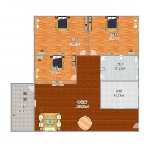 桂畔花园3室1厅1卫1厨498.00㎡户型图