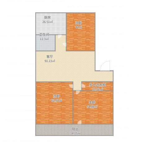 荷香村3室1厅1卫1厨437.00㎡户型图