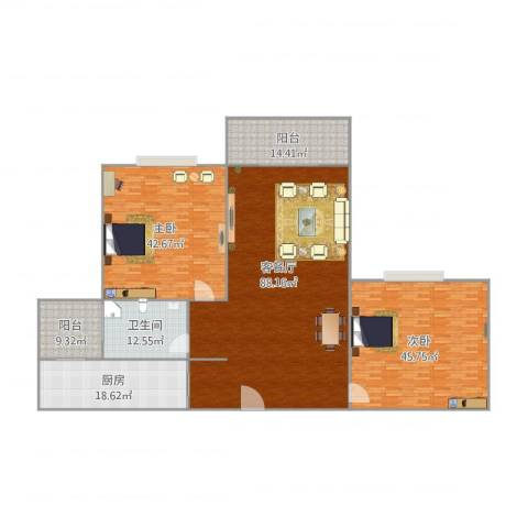 康格斯花园2室1厅1卫1厨302.00㎡户型图