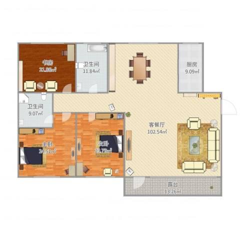 弘基书香园二期3室1厅2卫1厨283.00㎡户型图