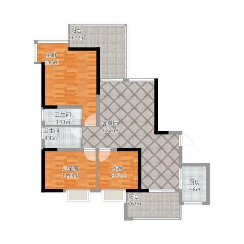 五岭国际20栋01户型3室1厅2卫1厨148.00㎡户型图