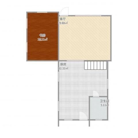 海湾世纪佳苑1室1厅1卫1厨112.00㎡户型图